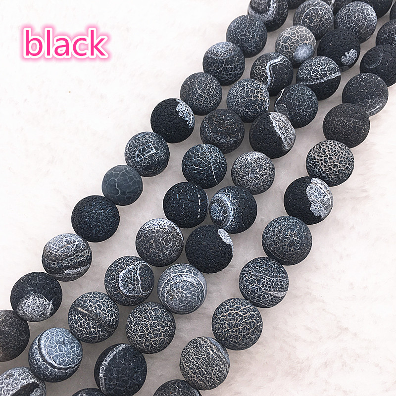 Wholesale 6/8/10mm Natural Stone Bead Dream Fire Dragon Veins black Onyx Agat Loose Stone Beads For Making Bracelet DIY #03