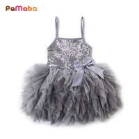 PaMaBa Elegant Baby Girls Sequined Summer Slip Dress Children S Wedding Party Princess Tutu Dress Kids