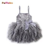 PaMaBa Elegant Baby Girls Sequined Summer Slip Dress Children S Wedding Party Princess Tutu Dress Kids