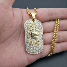 Hip Hop King Crown Pendant Necklace Stainless Steel Gold Color Iced Out Rhinestone Charm With 3mm Box Chain N1396