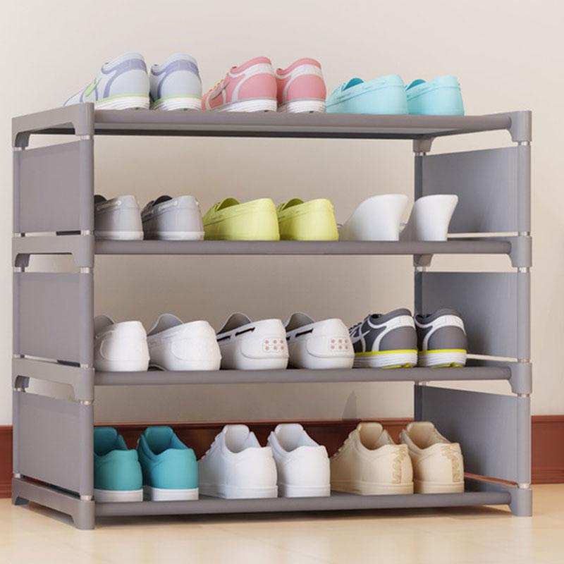 Four Layers Non-woven Cloth Simple Shoe Rack Multi-purpose Shoe Cabinet Books Shelf Toy Plants Storage Shelf Organizer Furniture