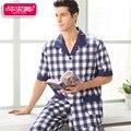 Nueva Ropa de Dormir A Cuadros de Verano Hombres Pijama 100% Algodón Homewear Pijamas Pijamas ropa de Noche Masculina Salón de Manga Corta Ocasional Suave