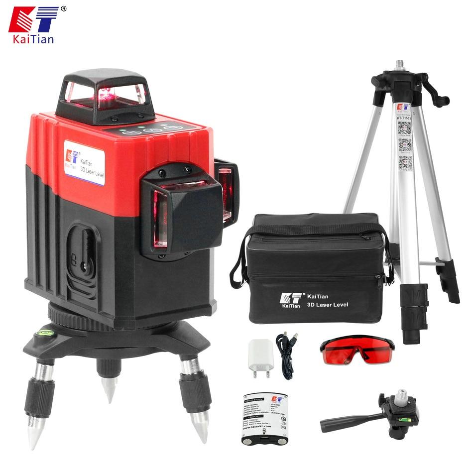 Kaitian Nivel лазер 12 линий лазерный уровень 3D 360 Поворотный Горизонтальный Вертикальный магнитный кронштейн строительные инструменты 3D уровень ...