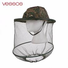 Camouflage Anti Mosquito Fishing Hat With Net Mesh Head Cover Fisherman Hat Beekeeping Camping Mask Face Protect Caps