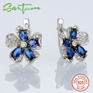 Image 3 - SANTUZZA Silver Flower Jewelry Set Bridal Wedding Blue CZ Stones Ring Earrings Pendant Set 925 Sterling Silver Fashion Jewelry