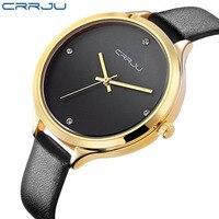 Wysokiej jakości skórzany zegarek marki CRRJU kobiety moda damska sukienka zegarki kwarcowe zegarki rzymskie zegarki świąteczny prezent