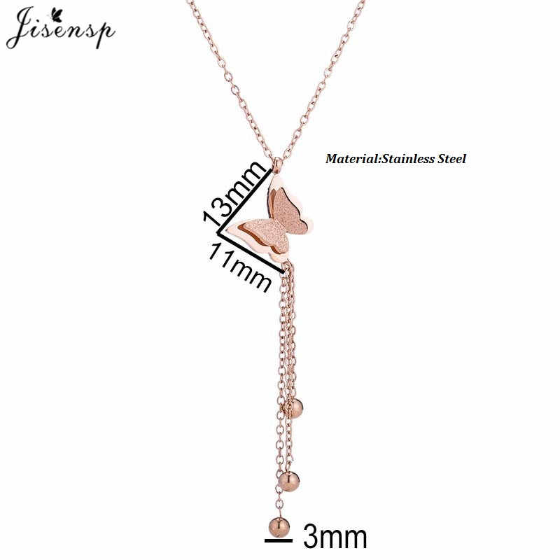 Jisensp لطيف ماتي مزدوجة فراشة سحر وردة في قلادة من الذهب اللون المقاوم للصدأ سلسلة ربط فولاذية المختنق قلادة مجوهرات للنساء