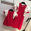 2016 Hot! Mother And Daughter Dress Girls Lotus Sleeve Princess Dress Kids Summer Clothes Children Red Clothing Free Shipping
