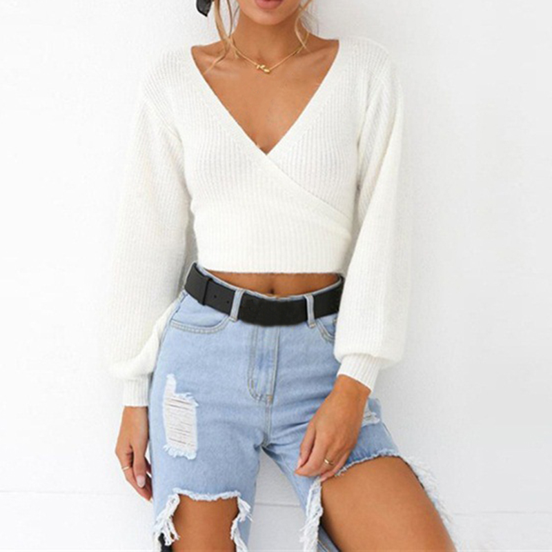 c5d70b39519c4 Kenancy Women Ribbed Cropped Tops Long Sleeve Wrap Deep V Neck Sexy Sweater  Casual Autumn Solid Pullovers Female Fashion Top New-in Pullovers from  Women s ...