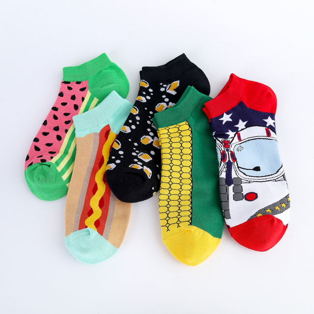 Jhouson New Arrival Men's Combed Cotton Summer Ankle  Watermelon Corn Pattern Colorful Novelty Casual Boat Socks 2