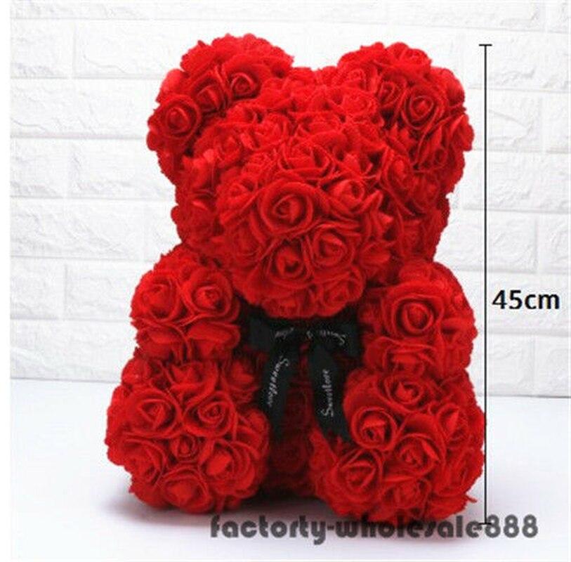 45cm géant grand énorme grand ours en peluche Rose fleur ours jouets Valentine cadeau de noël un cadeau d'anniversaire