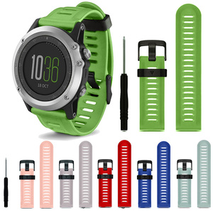 Image 5 - Colorful 26mm Outdoor Sport Silicone Wrist Strap Replacement Bracelet Watchband for Garmin Fenix 3 HR Watch Band