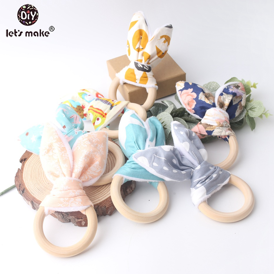 Let's Make 5pcs Baby Teether Bunny Ear Food Grade Materials Teething Wooden Ring Non-toxic Play Gym Pram Toy Baby Teether Toys