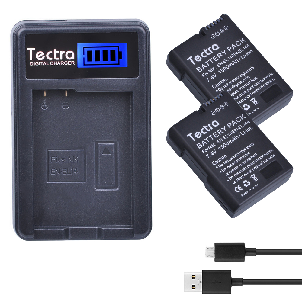 Tectra 2Pcs EN-EL14 EN-EL14A Decoded Bateria + LCD USB Charger for Nikon D5600 D3400 D3100 D3200 D3300 D5100 D5200 D5500 P7700