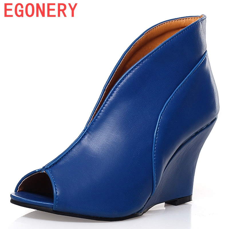 EGONERY shoes 2016 new Women's Sexy High Heels Peep Toe Pumps Fashion Wedges Shoes Woman Spring Autumn Pumps Women shoes egonery shoes 2017 spring and autumn concise wedges butterfly knot pumps simple lace up sweet round toe women fashion high heels