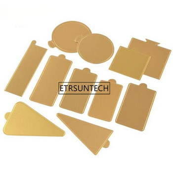 Multi Shapes Available Gold Mousse Cake Cardboard Base Pad Cupcake Dessert Cake Paper Tray Holder