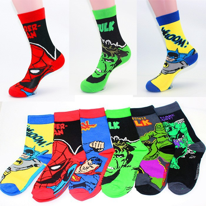 Wholesale 60 Pairs European Popular Style The Avengers Super Hero Socks Batman Spiderman Long Feet Socks Men Cool Skate Soks