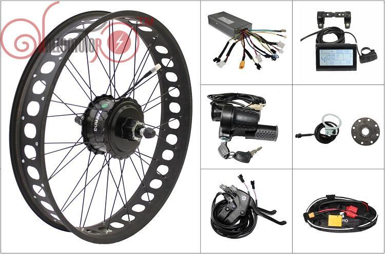 Livraison gratuite 48 V 750 W Bafang Ebike Freehub Cassette gros pneu arrière moteur roue électrique vélo Kits de Conversion 175mm 190mm