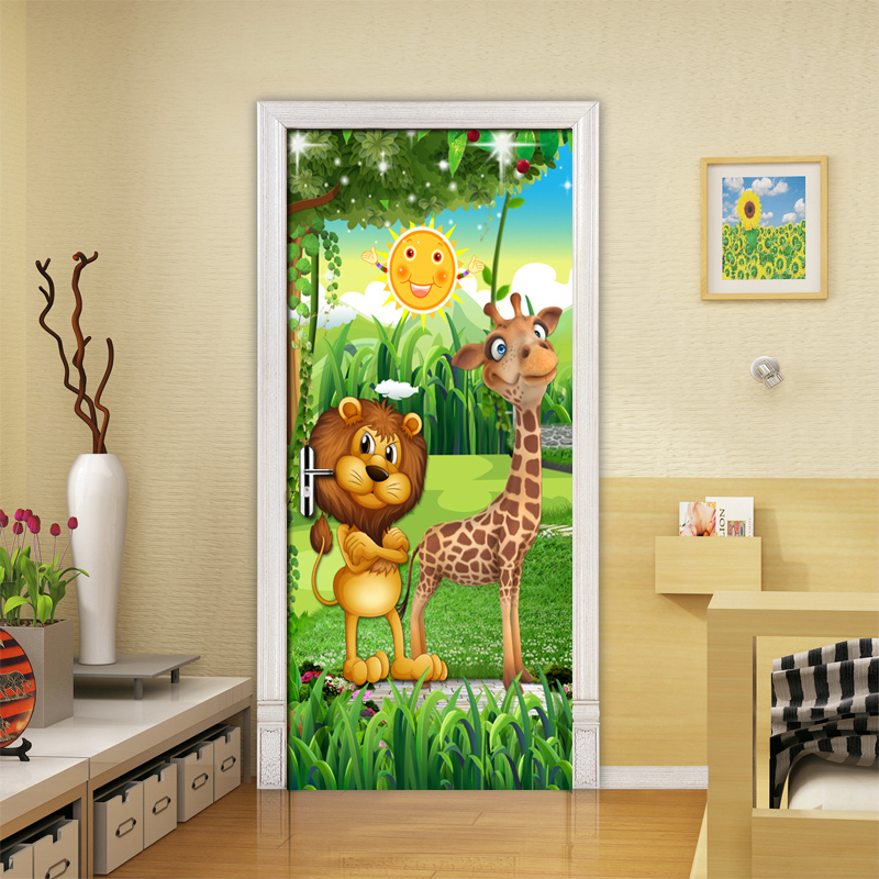 Forest Animal Children Room Bedroom Door Stickers PVC Mural 3D Photo Wallpaper Creative DIY Waterproof Door Sticker Decoration