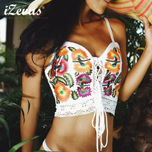 Summer Style Women Tops Sexy Camisoles For Lady White Black Spaghetti Strap Vintage Embroidered Hollow Back Straps Cami Crop Top