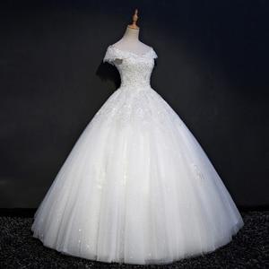 Image 2 - Fansmile Real Photo Luxury Lace Ball Wedding Dresses 2020 Customized Plus Size Vintage Bridal Gown Vestido de Noiva FSM 075F