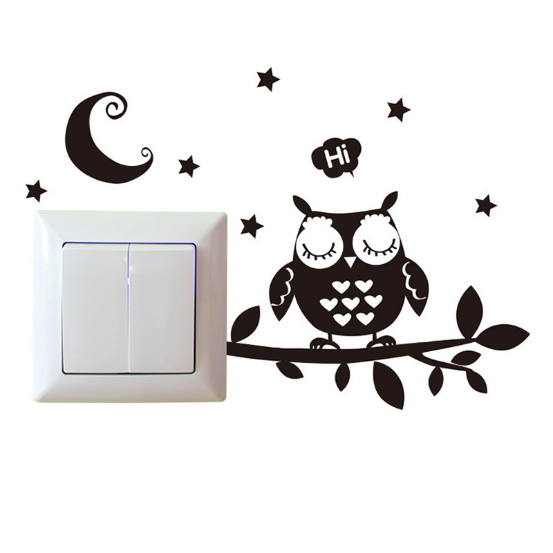 Black Owl Under The Night Sky Wall Sticker Kids Rooms Vinyl For Home Decoration Art Decals Removable Lovely Switch Stickers