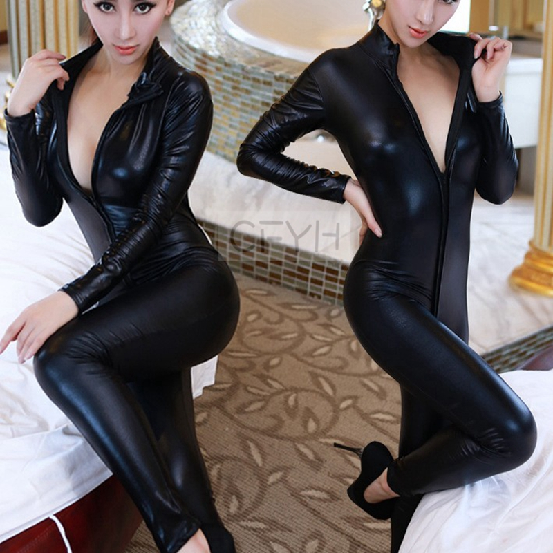 Buy 2018 Hot Sexy Faux Leather Latex Zentai Catsuit Smooth Wetlook Jumpsuit Front Zipper Elastic Black PU Bodysuit Slim Clubwear 4XL