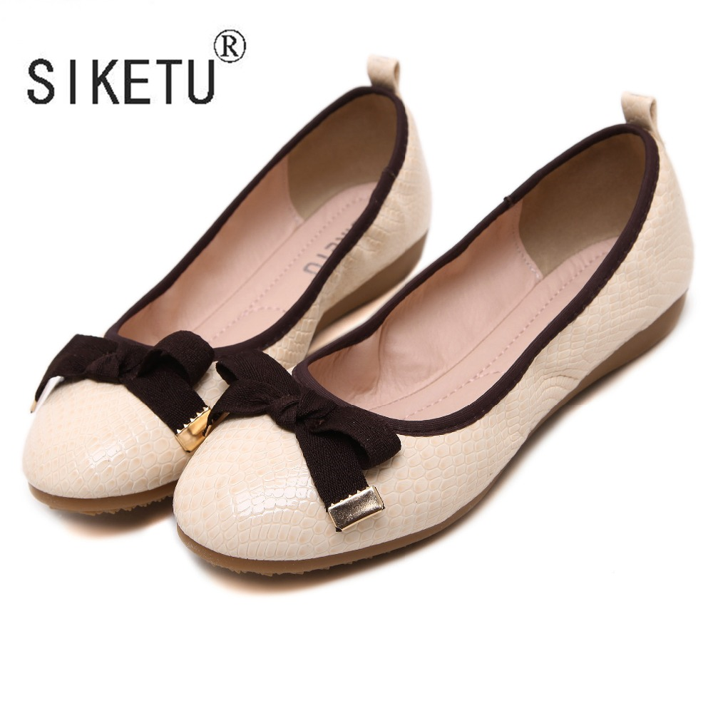 28a2878fc3d8 2016 Newest Bowtie PU Round Toe Snake Print Women Loafers Driving Casual Ballet  Flats Shoes