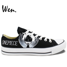 Wen Anime Black Hand Painted Shoes One Piece Luffy Low Top Men Women's Canvas Sneakers for Birthday Gifts