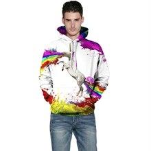 Harajuku 3D Print Rainbow Unicorn Horse Sweatshirts Fashion Long sleeve with hat men Women Hoodies Cartoon