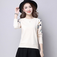 Cashmere embroidery Floral Sweater 2018 Casual Women Pullover Sweater Autumn O Neck Ladies Jumpers Warm Winter Mujer Sweater