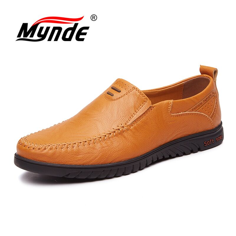 Mynde Big Size 38-46 High Quality Genuine Leather Men Shoes Soft Moccasins Loafers Fashion Brand Men Flats Comfy Driving Shoes men luxury brand new genuine leather shoes fashion big size 39 47 male breathable soft driving loafer flats z768 tenis masculino