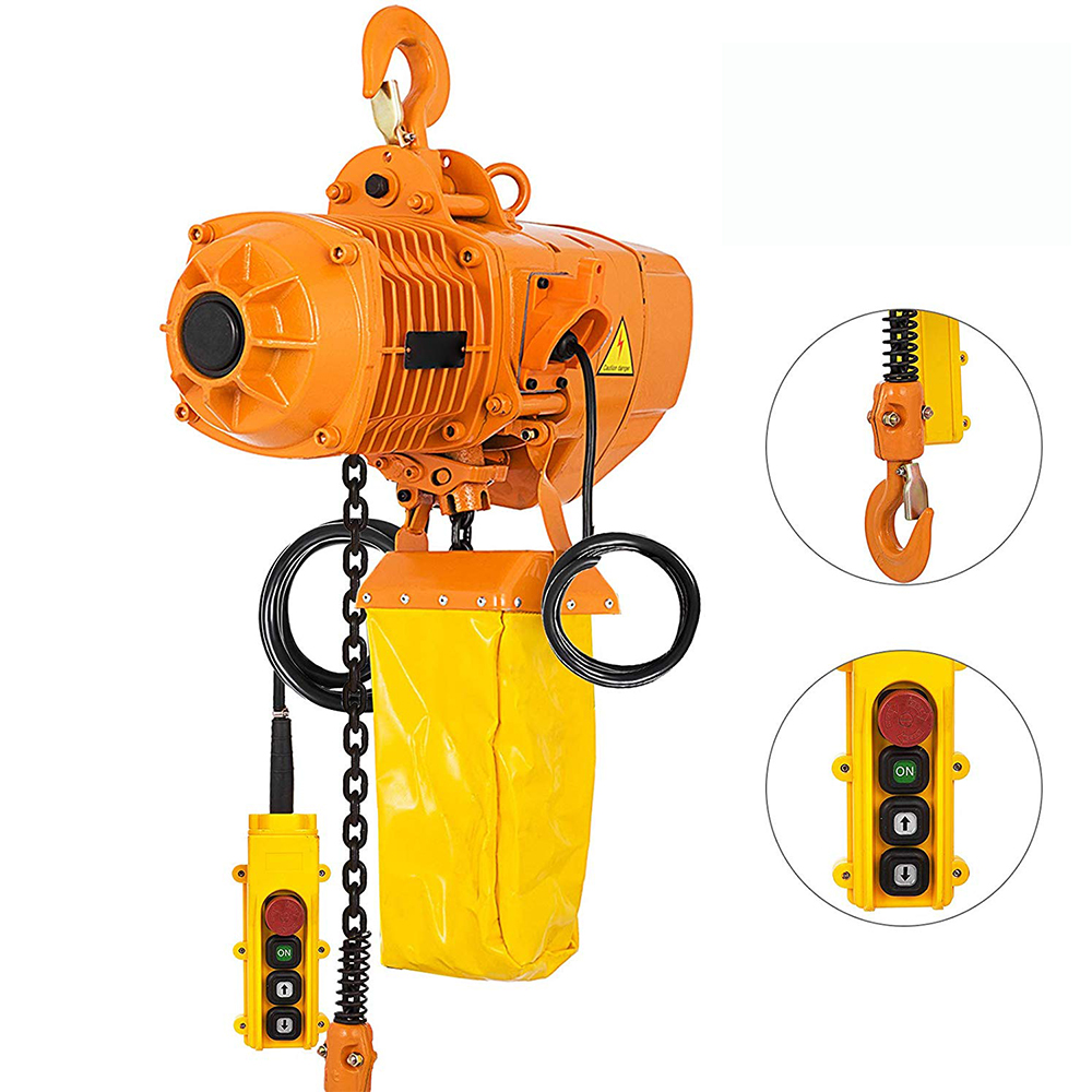 220V/380V 1T 2200Lb Electric Hoist Crane Lift Overhead Garage Winch Chain Hoist For Factories Warehouses Buildings Cargo Lifting