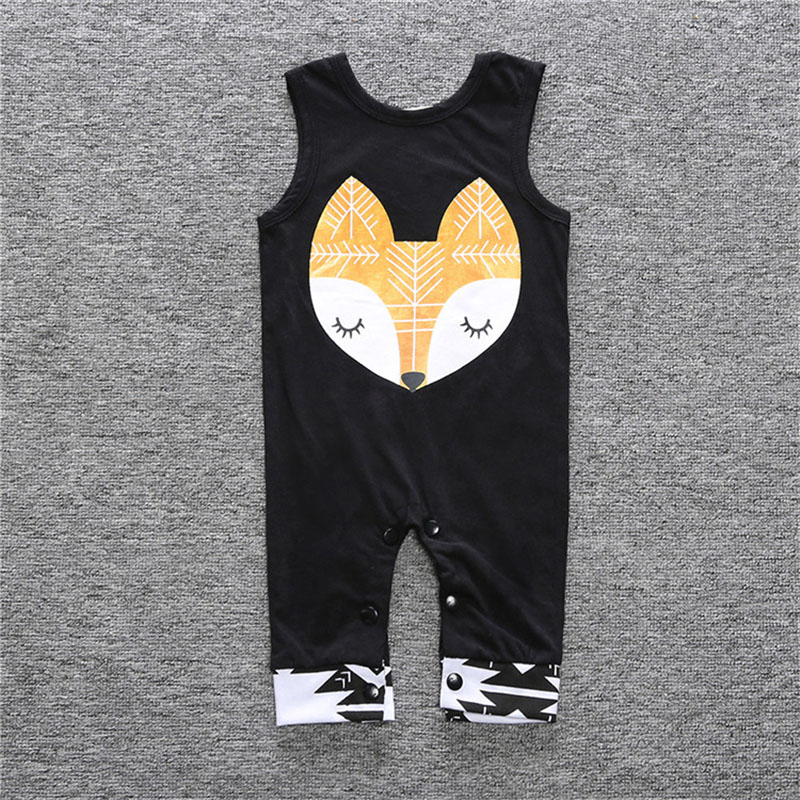 SummermHot Newborn Baby Boy Clothes Sleeveless Baby Rompers Cotton Baby Girl Clothes Fox Pyramid Roupas Bebe Infant Jumpsuits