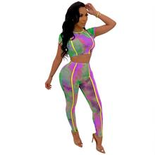 Sexy Tie Dye Print Trim Two Piece Set Casual O Neck Crop T Shirt Top With Long Pants Women Sets See Through Bodycon Women Outfit недорого