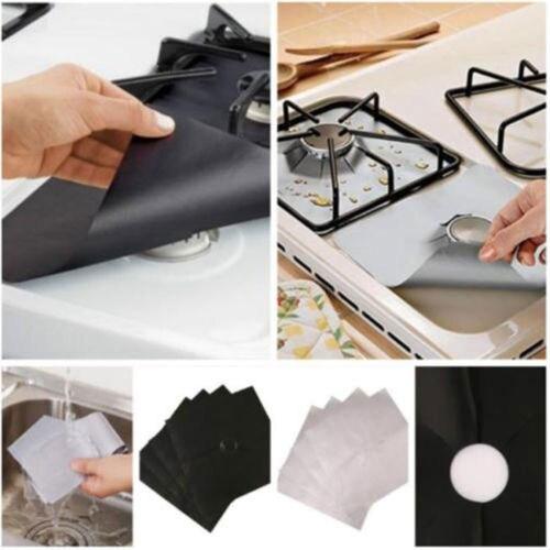 Reusable Aluminum Foil 4pcs/lot Gas Stove Protectors Cover/Liner Non Stick Silicone Dishwasher Safe