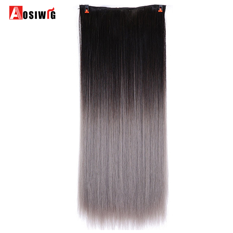 Aosiwig 22 Inch Long Straight Clip In On Hair Extensions Ombre Rainbow Color Kanekalon Synthetic 5 Clips In Hairpiece Highly Polished Synthetic Extensions Synthetic Clip-in One Piece