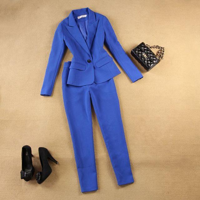 Primavera ternos moda blazer Feminino paletó e Calças mulheres de Slim ternos de negócio ternos formais de carreira trabalho de escritório blazers 022805