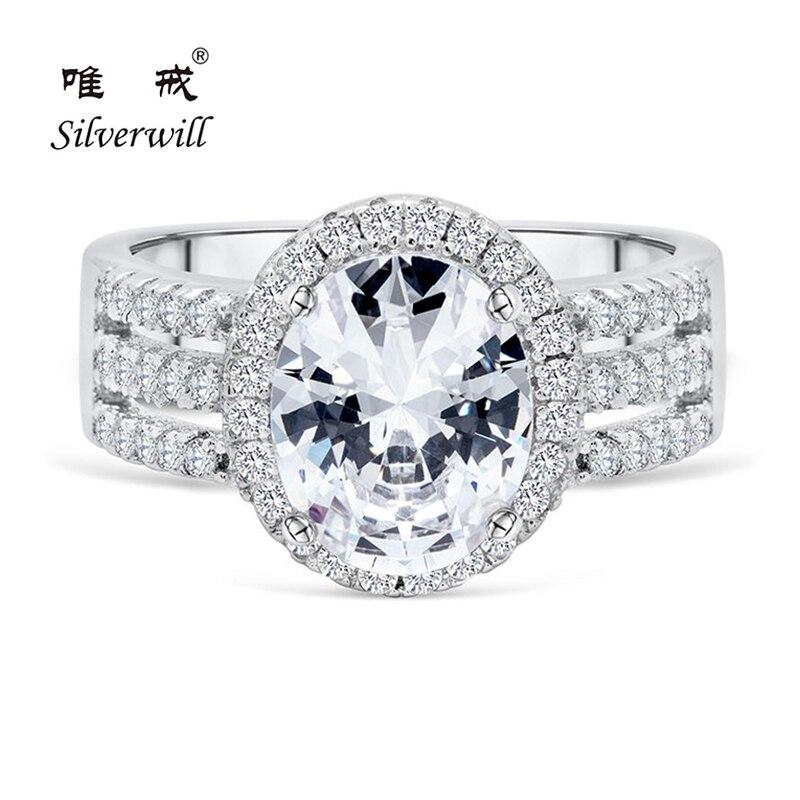 Silverwill argent sterling femmes anneaux majestueux 3 ct taille ovale simulé diamant pierre luxueux bague de mariage cadeau d'anniversaire
