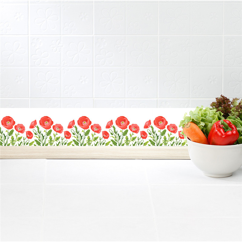 New Eco friendly PVC Poppy flower Border roll Fashion decorative Baseboard sticker corridor kitchen Background decoration