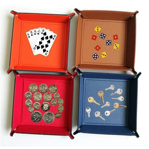 Image 2 - 折りたたみ収納ボックス Pu レザースクエアトレイサイコロテーブルゲームキー財布コインボックストレイデスクトップ収納ボックストレイ装飾