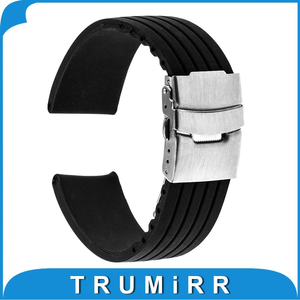 22mm Silicone Rubber Watch Band for Asus Zenwatch 1 2 22mm LG G Watch W100 / R W110 / Urbane W150 Resin Strap Bracelet Black