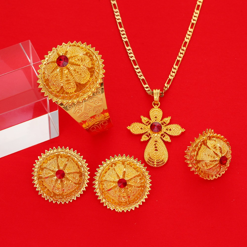 Ethiopian Jewelry Sets Red Stone African Jewellry Ethiopia Wedding Bride Habesha Set