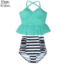 TCBSG 2017 New Bikinis Women High Waist Swimsuit Push Up Bikini Set Swimwear Female Hem Top Beach Wear Bathing Suits Dress Spa