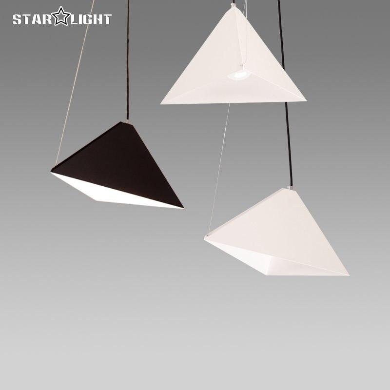 ФОТО Modern design minimalist style indoor lamp Hanging oblique Triangle pyramid pendant lampshade E27 cage light fixture