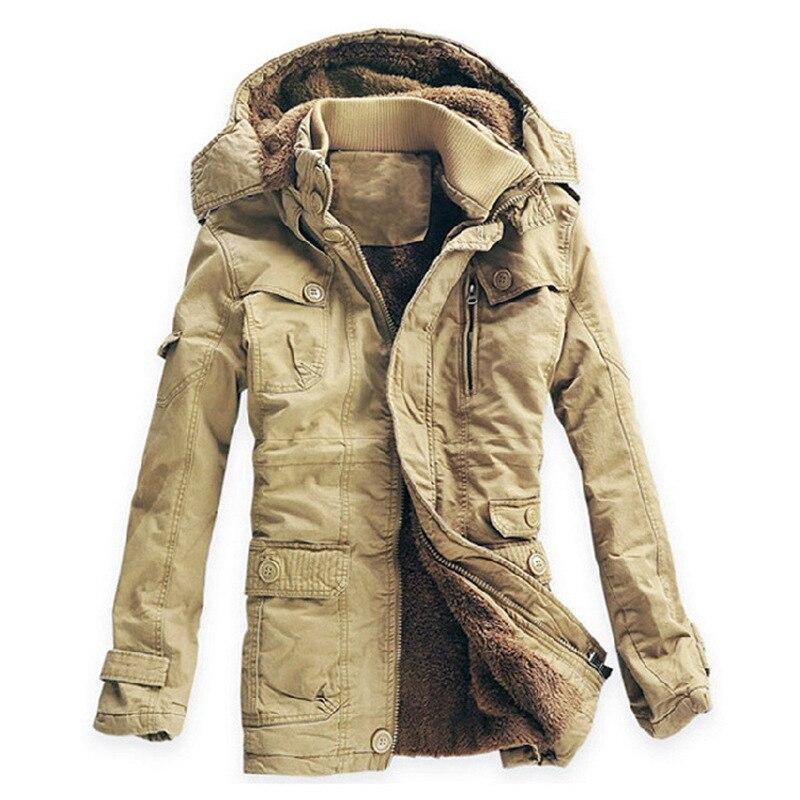Зимняя куртка Для мужчин Повседневное толстый бархат теплые куртки Мужские парки Hombre Для мужчин хлопковая ветровка армия куртка с капюшоно...