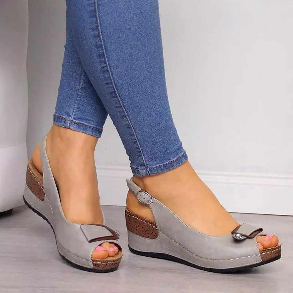 SAGACE Nữ Giày Đế Xuồng nữ cao gót bơm mùa hè 2019 Mở Mũi Giày Xăng Femme nền tảng dép Sandalia Feminina # 4Z