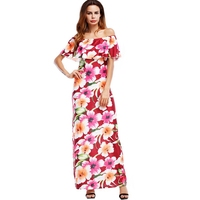 Floral Print Strapless Sexy Boho Dress Women Summer Style Bohemian Maxi Beach Dress S 5XL Plus