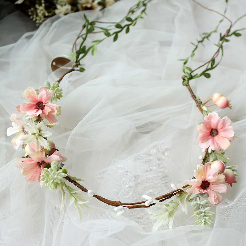 HIYONG New Style Floral Crown Headband Flower Crown Hairband Floral Crown Girl Wreath Wedding HairBands Hair Accessories Women in Hair Jewelry from Jewelry Accessories