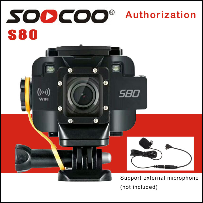 SOOCOO S80 Wifi 1080P Action Camera 1.5 Screen Waterproof 20M Video Starlight Night Vision Support Microphone Sports DV Camera soocoo c30 sports action camera wifi 4k gyro 2 0 lcd ntk96660 30m waterproof adjustable viewing angles